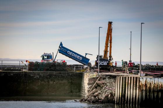 Interim repairs at Arbroath Harbour
