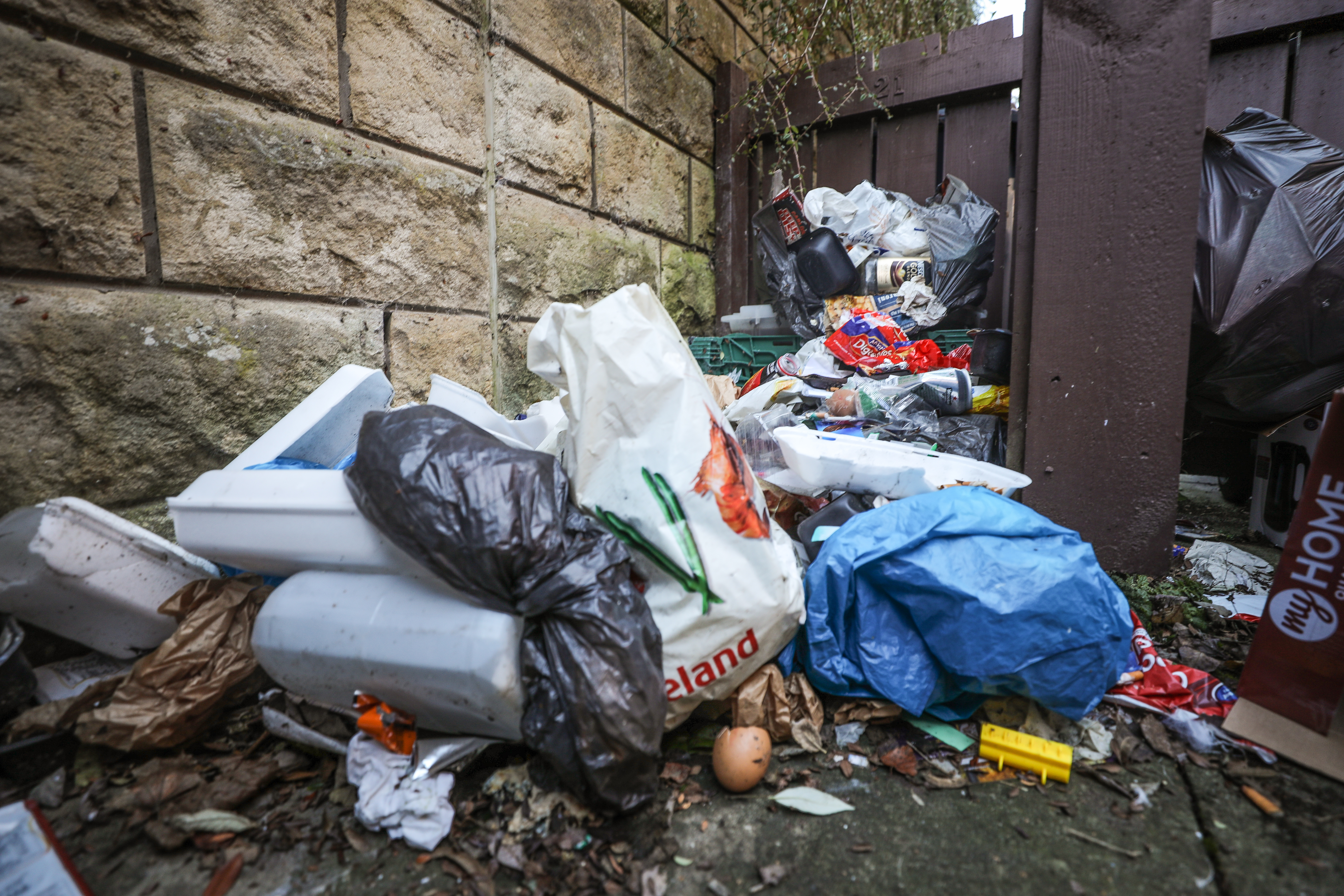 Rubbish has piled up in Dot Murray's garden