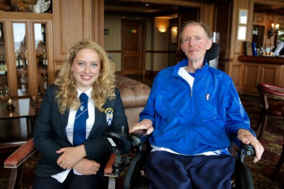 Brynia Duthie pictured with former maths teacher Donald Grewar, who passed away at the weekend.