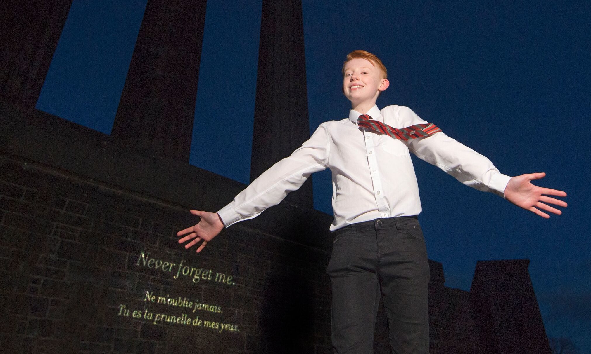 Nathan Earnshaw's poem Paris is projected onto the National Monument of Scotland on Calton Hill