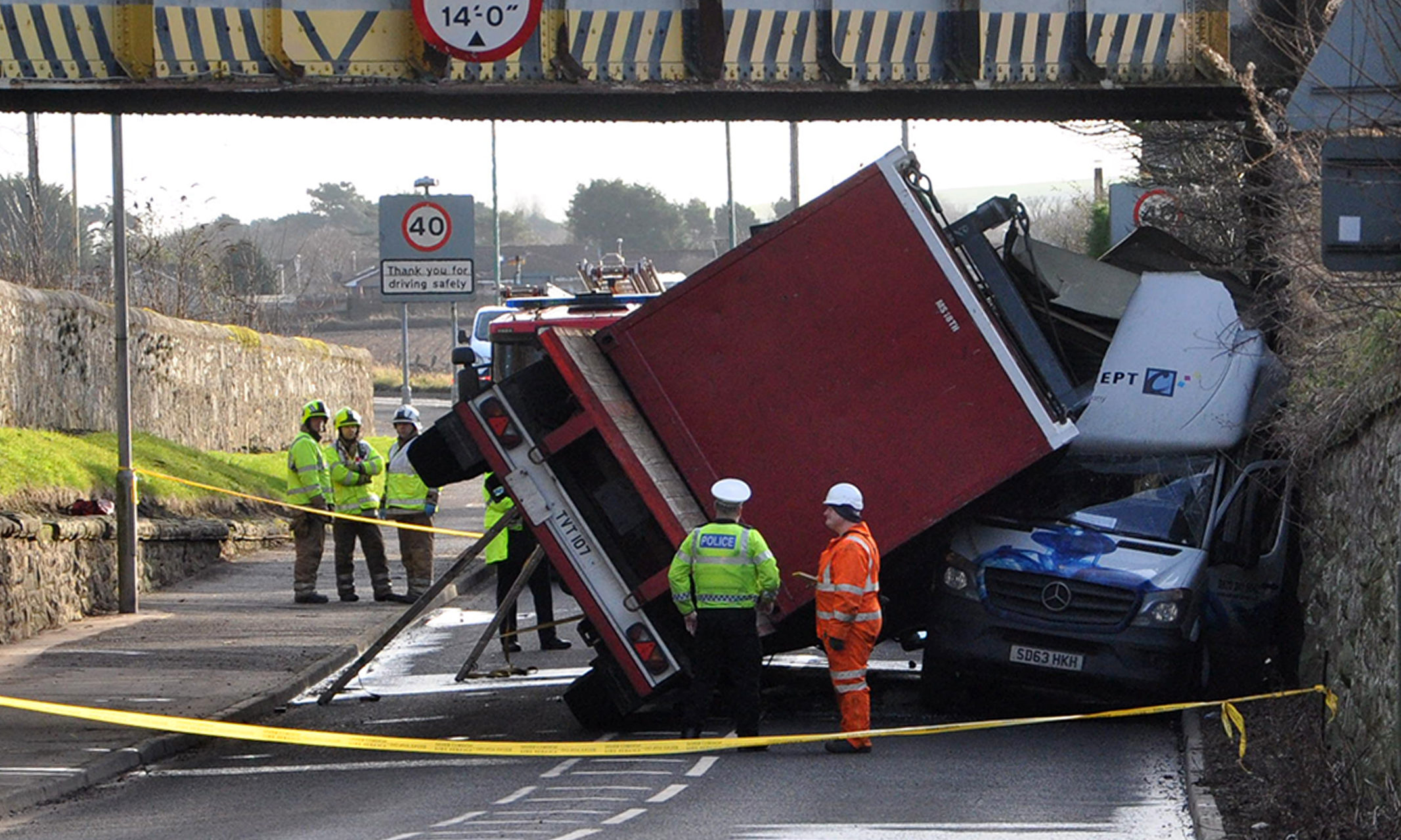 The bridge at Hillside, near Montrose was the scene of a dramatic accident