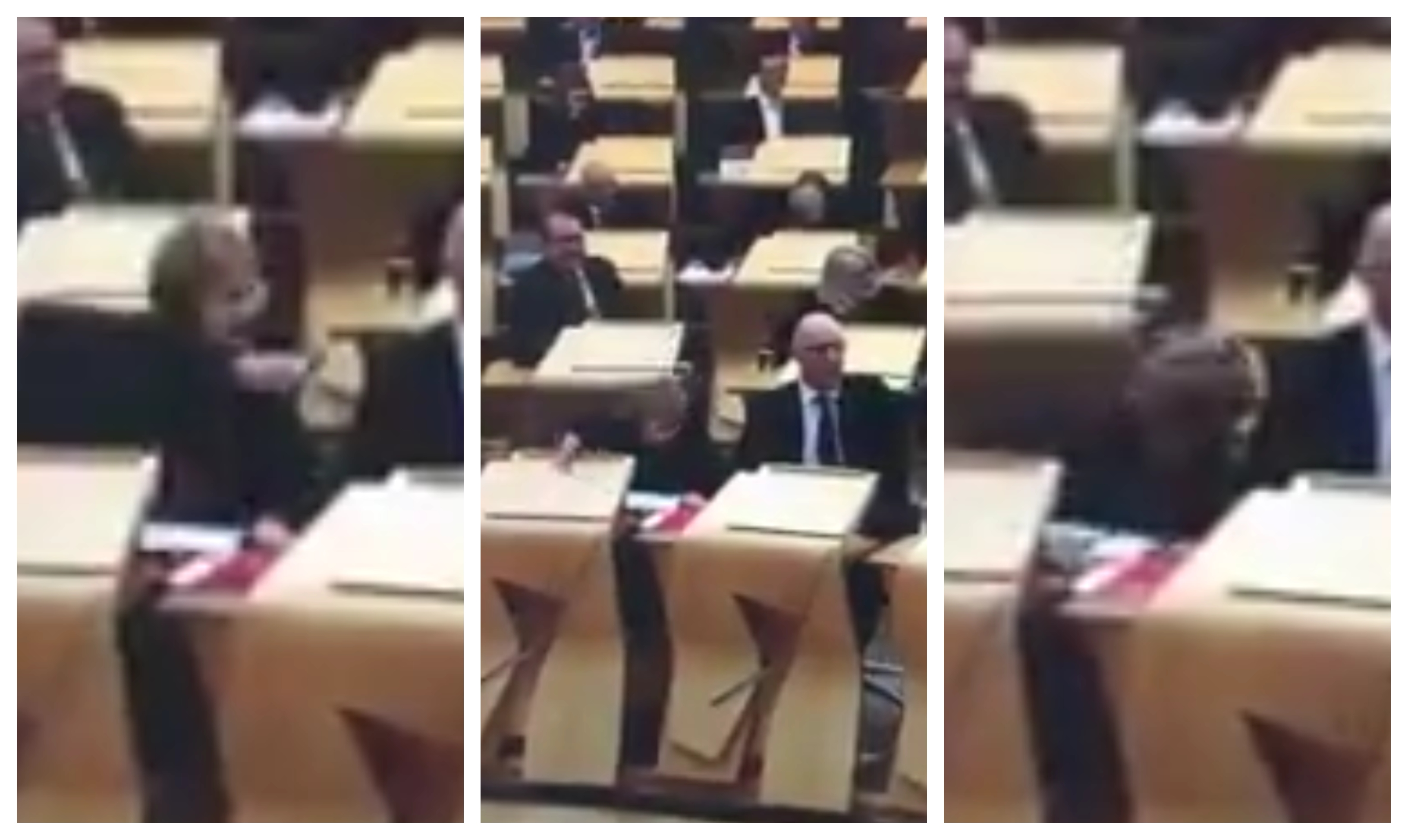 Roseanna Cunningham falls off her chair during Murdo Fraser's speech.