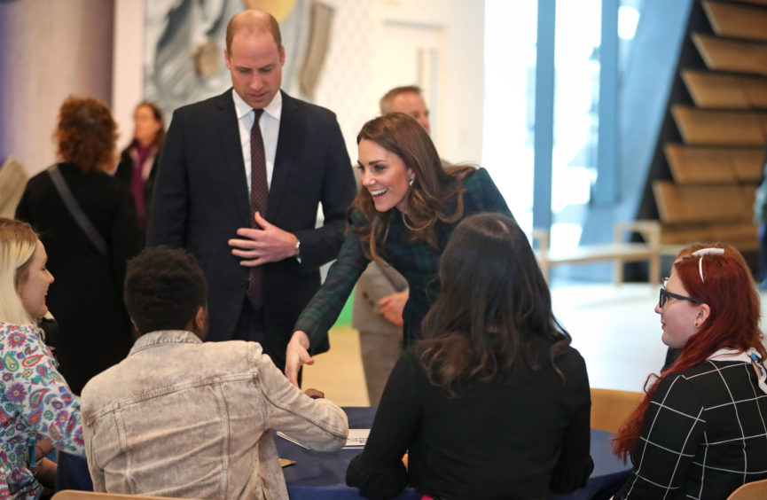 Kate, Duchess of Cambridge and Prince William, Duke of Cambridge arrive to officially open V&A Dundee. Jane Barlow/PA Wire