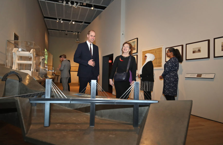The Duke of Cambridge with museum chair Lesley Knox. Jane Barlow/PA Wire