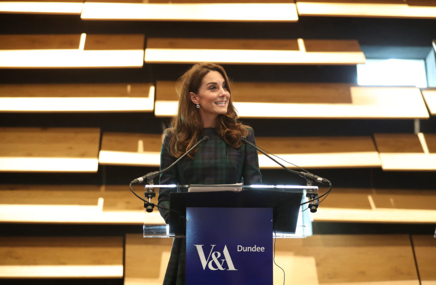 The Duchess of Cambridge speaking during a visit to officially open the V&A Dundee. Jane Barlow/PA Wire