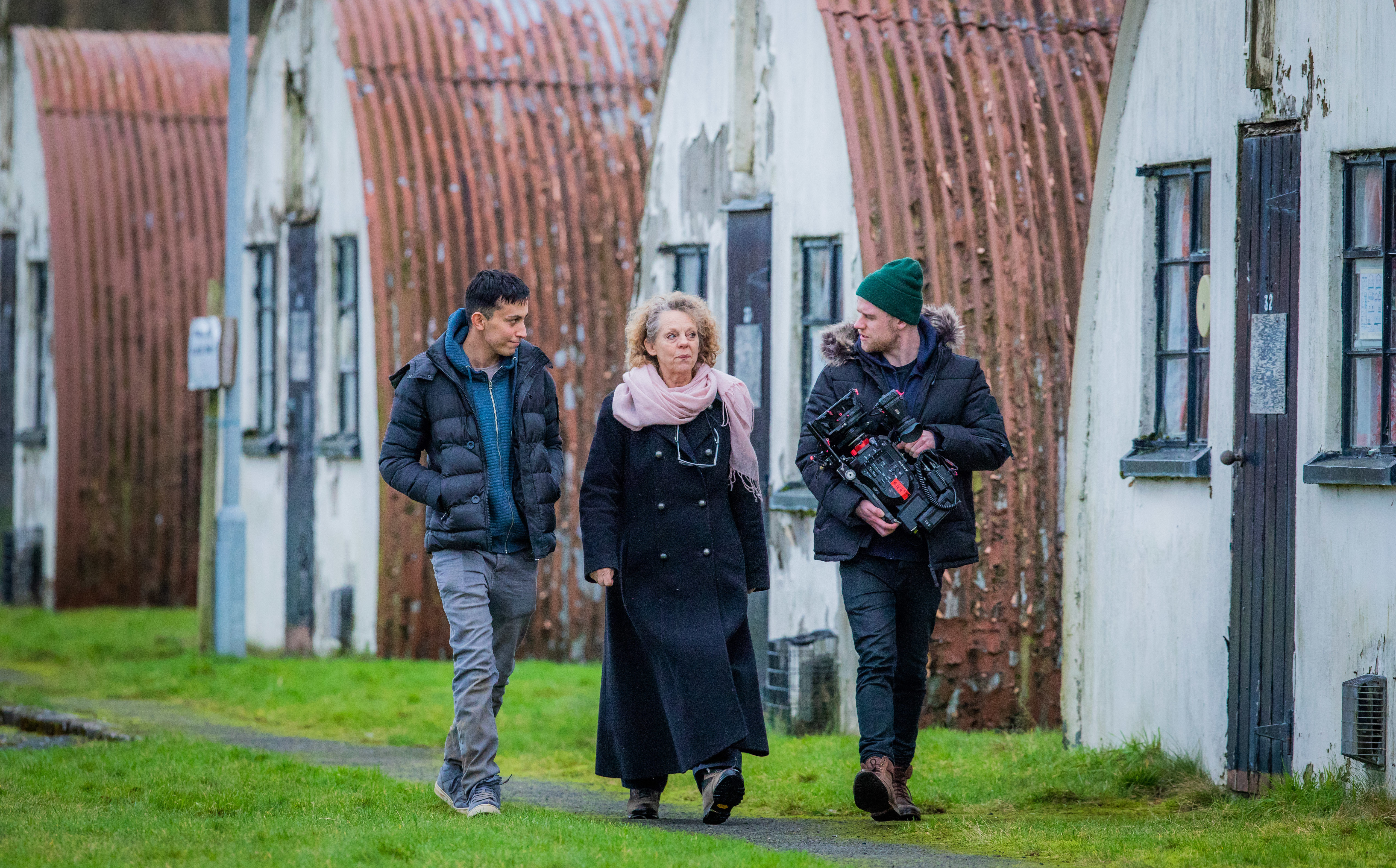 Actor Mohamad Khalil (playing lead), Dr Chrissie Gale (University of Strathclyde / project creator) and director of the drama Jonny Blair.