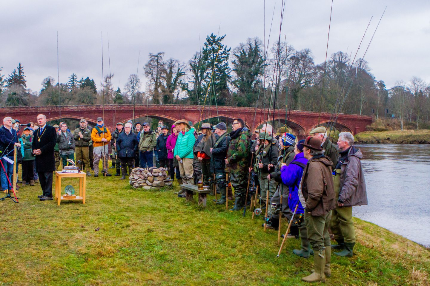 Opening of the River Tay Salmon fishing season at Meikleour Fishing, Kinclaven Bridge, by Meikleour in 2018