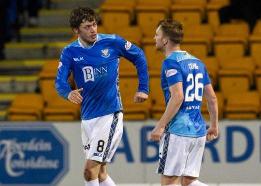 Murray Davidson (left) celebrates his goal with teammate Liam Craig.