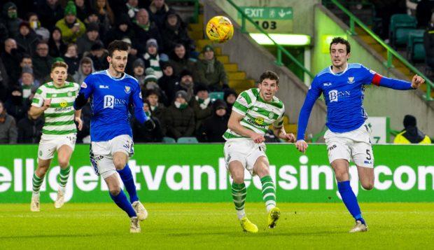 Ryan Christie scores Celtic's second goal.