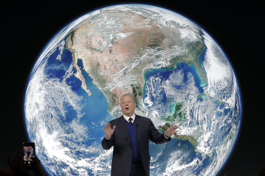 """Al Gore, former vice-President of the United States, speaks during the """"Safeguarding the planet"""" session ."""