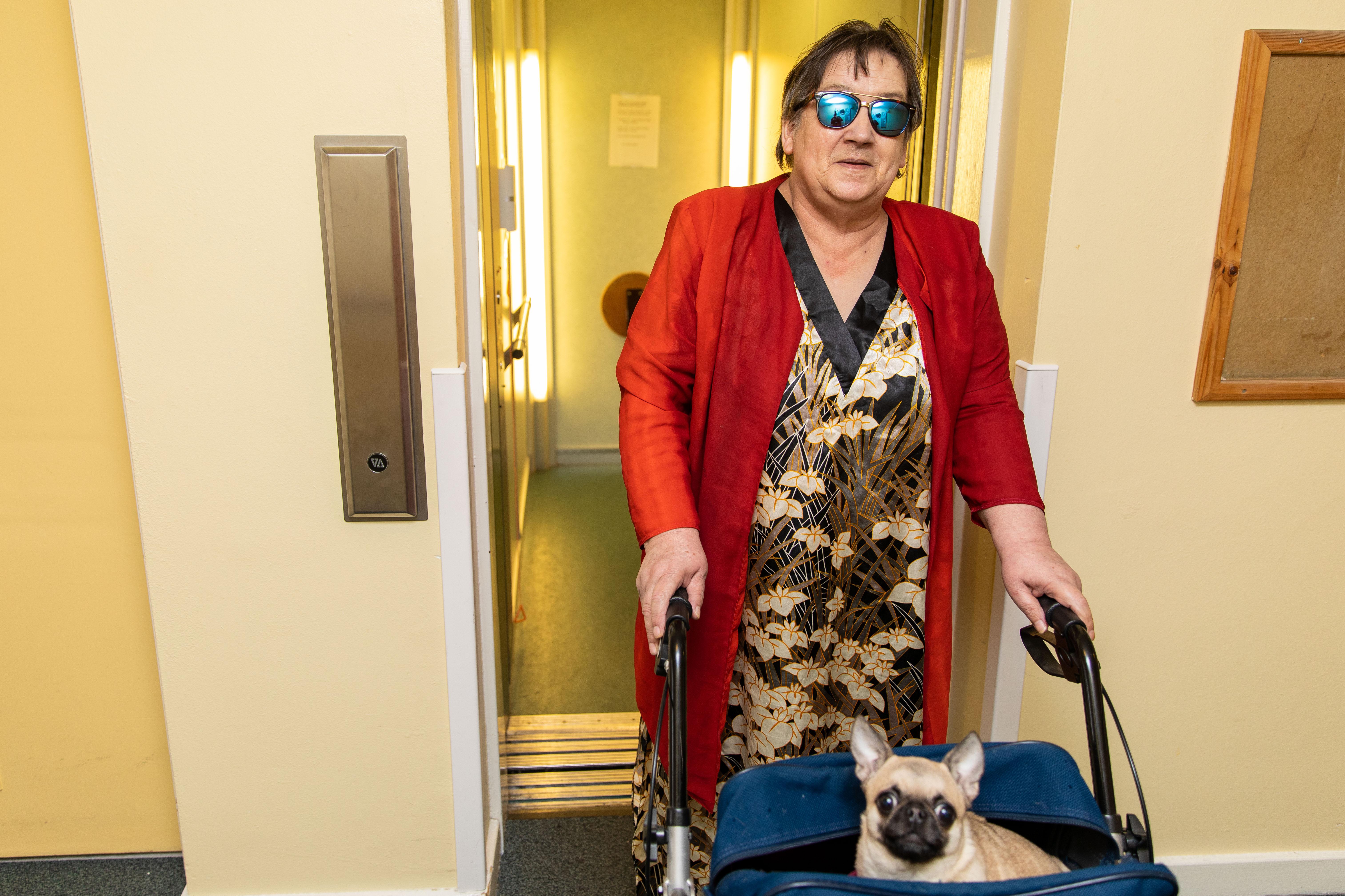 Jemima with pet dog Elsa