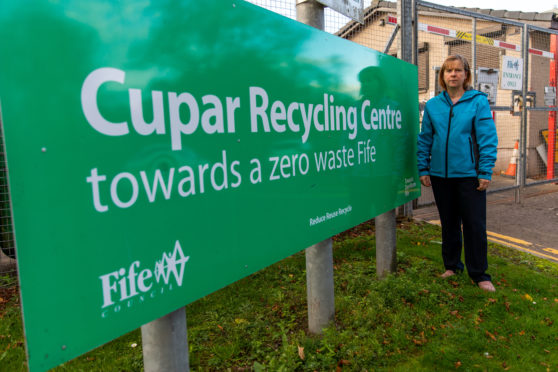 Councillor Margaret Kennedy outside Cupar recycling centre.