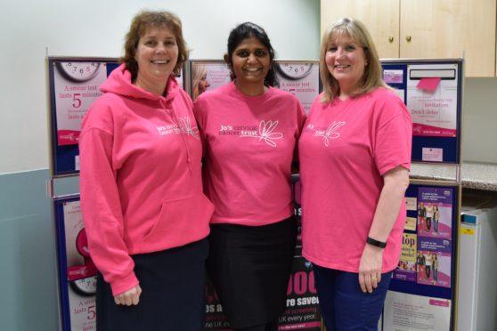 Dr Wendy McMullen, Dr Kalpana Ragupathy and   McMillan clinical nurse specialist/colposcopist Elaine Coupar.