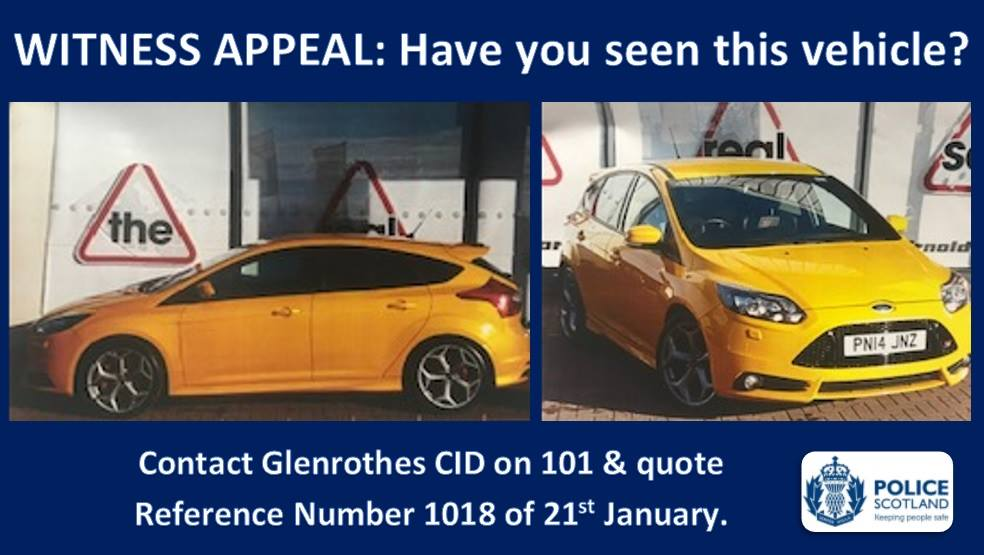 The Ford Focus ST was taken from the dealership in Glenrothes.