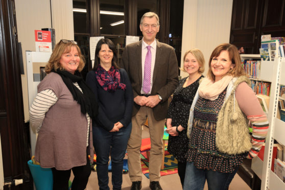 The Den at Heartland Kids Club trustees. From left: Judith Dingwall, Margaret Thain, Councillor Mike Williamson, Caro Middlemass and Ruth Alexander.