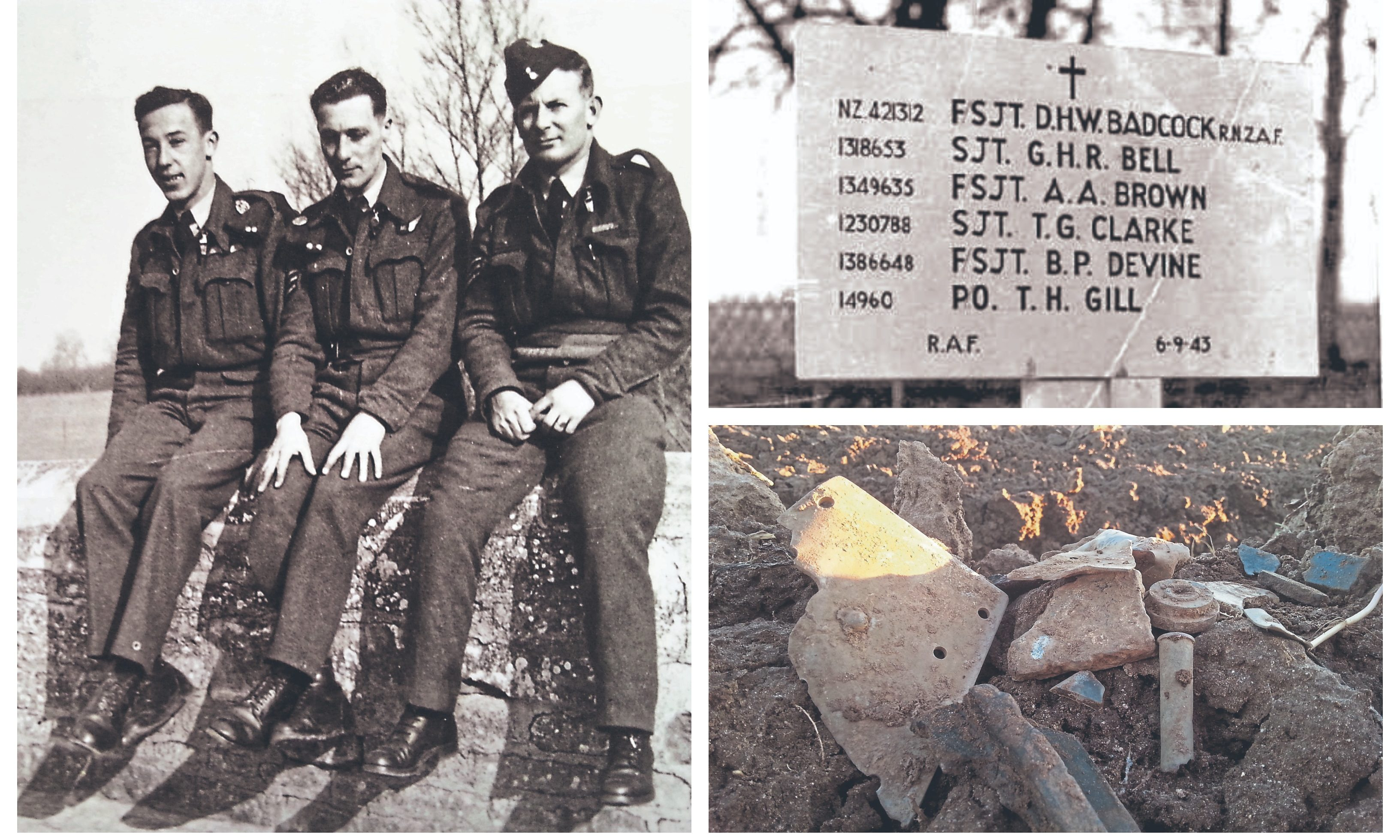 """RAF comrades, above from left, Andrew Angus Brown who hailed from Kirriemuir, Harry """"Barney"""" Barnard, and David """"Dave"""" Badcock from New Zealand. Also pictured: a marker erected to the dead air crew and the crash site uncovered near the city of Ludwigshafen."""