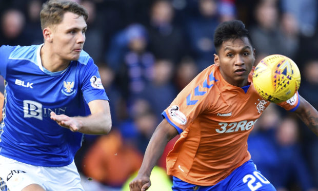 Alfredo Morelos, right, in action against Saints' Jason Kerr.