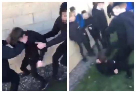 Left: The boy is wrestled to the ground. Right: A pupil kicks the boy in the face as he is defenceless on the ground.