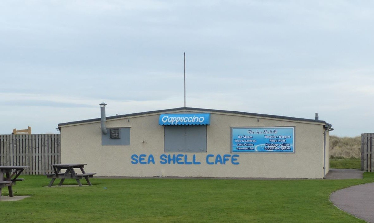The former Sea Shell Cafe on St Andrews West Sands.