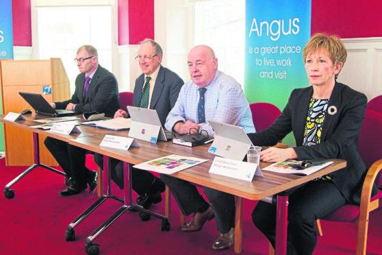 From left, Ian Lorimer; Angus Macmillan Douglas; David Fairweather and Margo Williamson at the draft budget unveiling on Monday.