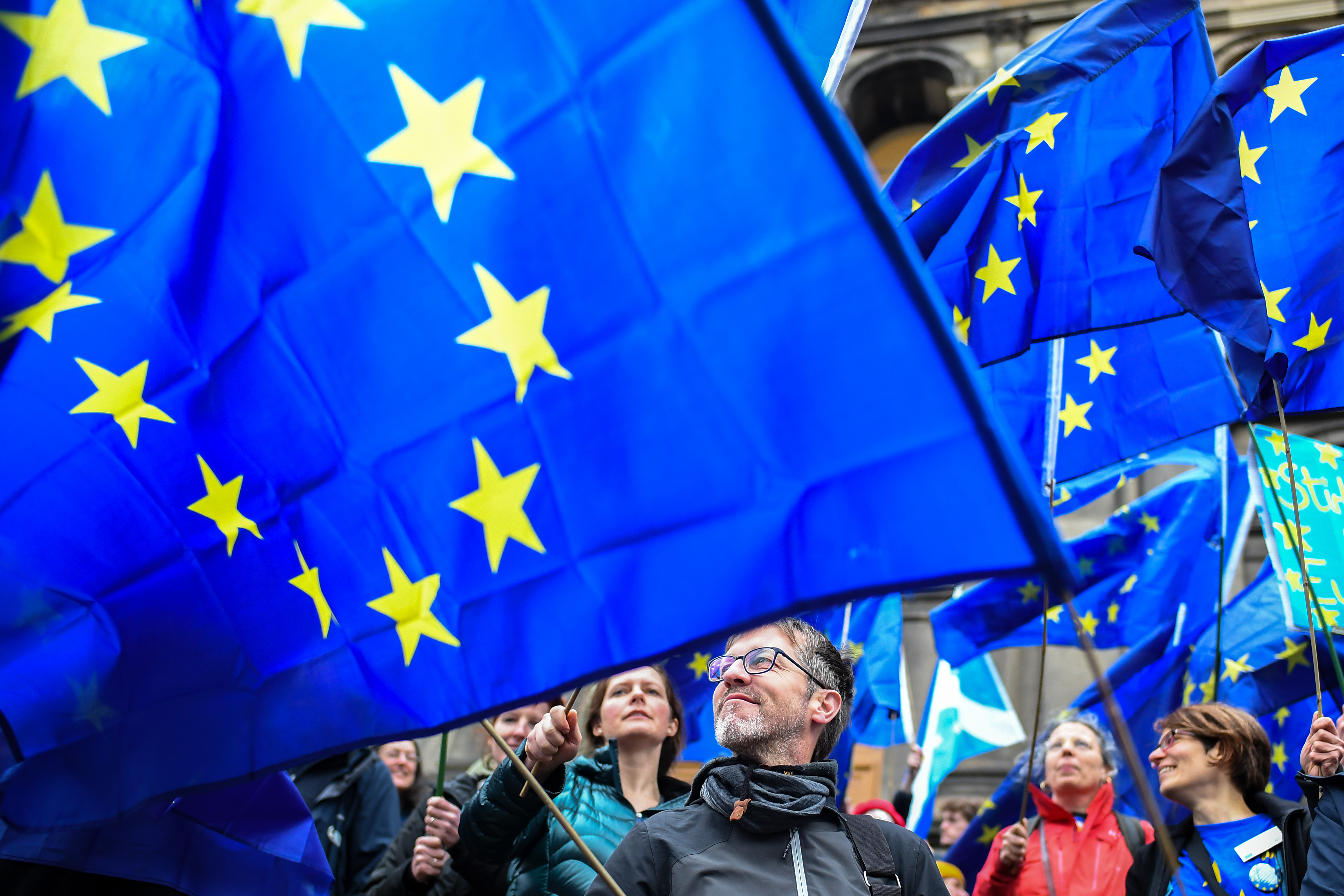 People attend a Rally for Europe outside Augustine United Church in Edinburgh.
