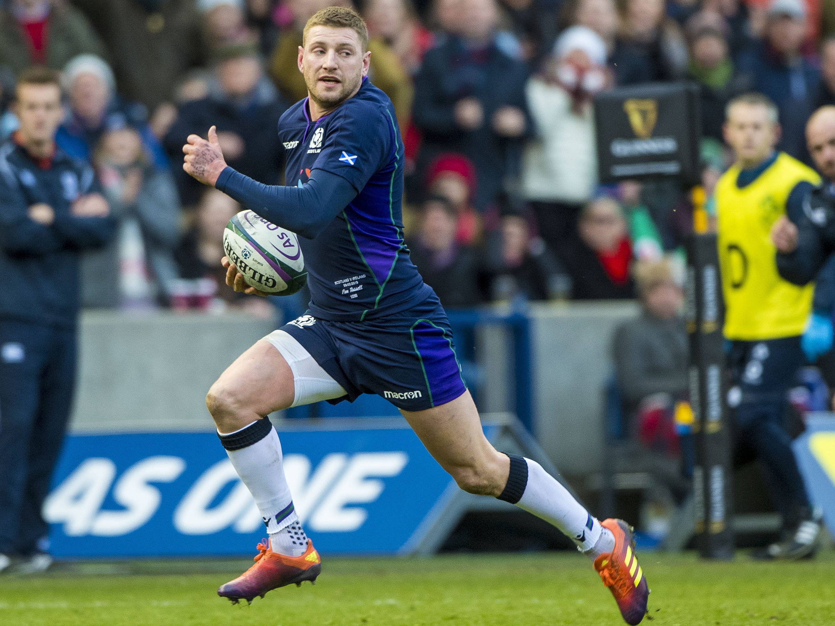 Finn Russell in action for Scotland.