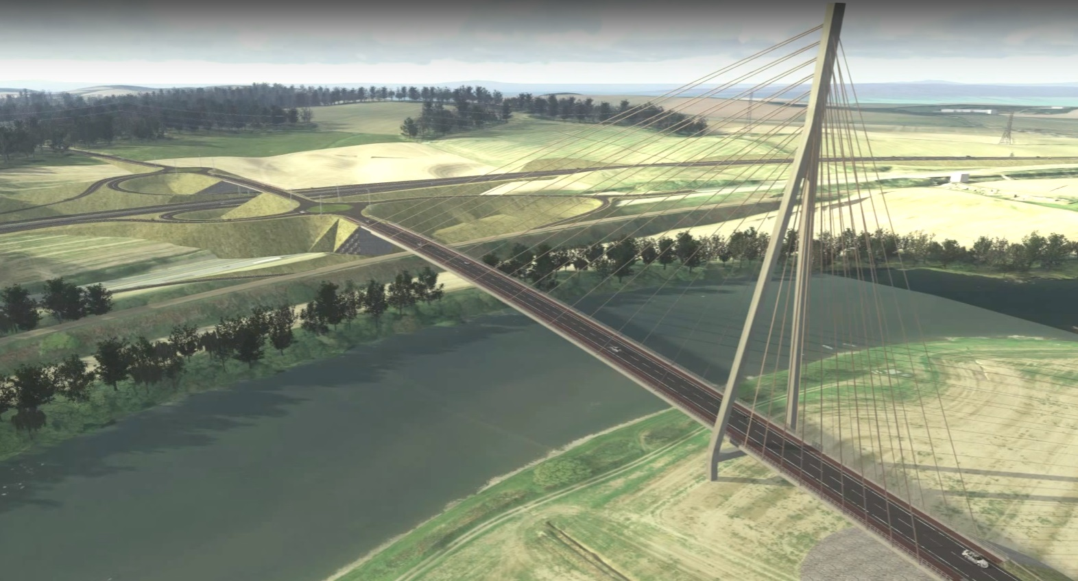 Screengrabs of video showing how the Cross Tay Link Road might look