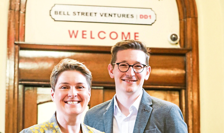 Lorna Edwards, head of business engagement at Abertay University, and Simon Fraser, student enterprise officer, outside the Bell Street Ventures enterprise centre.
