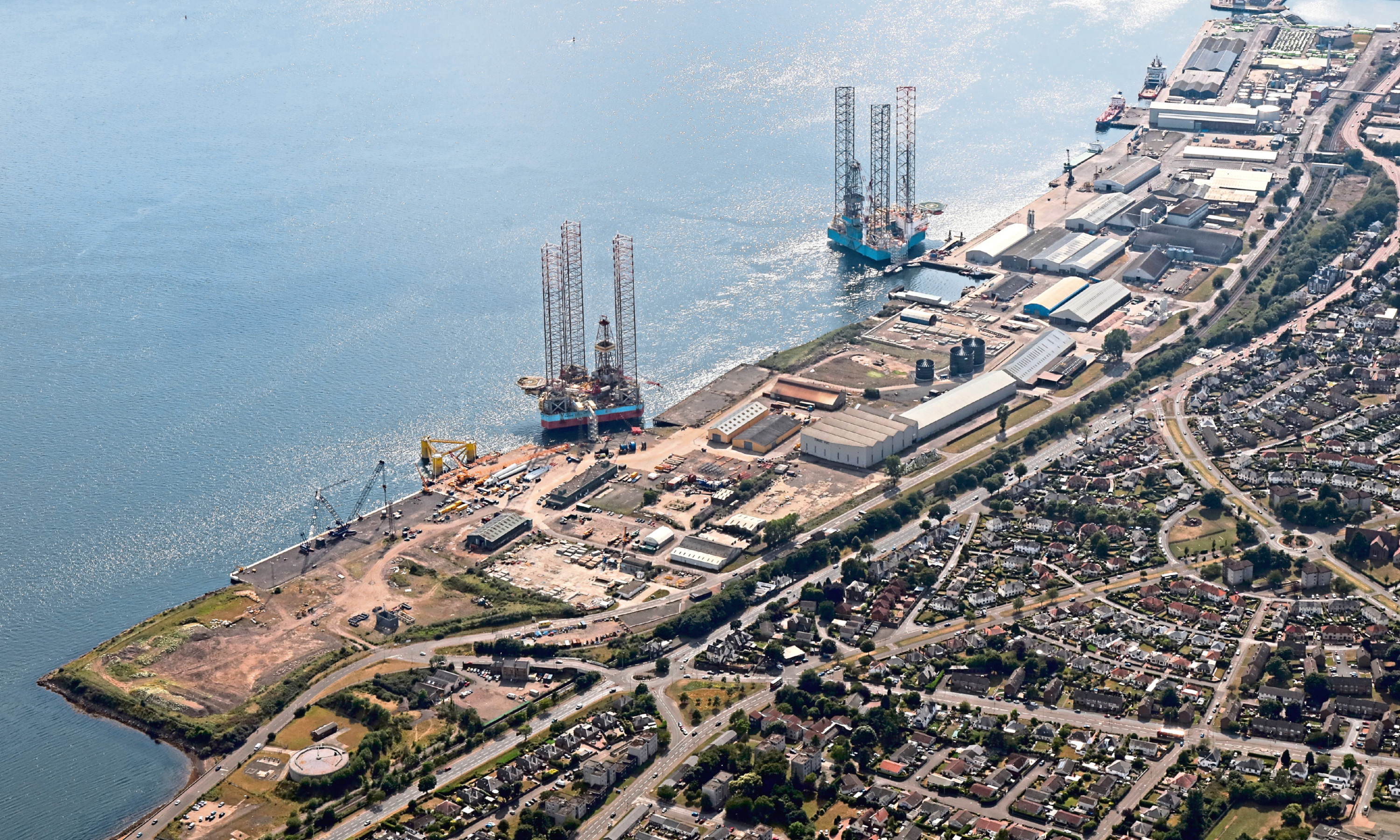 An aerial view of the Port of Dundee.