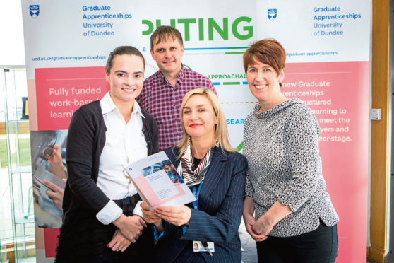 University of Dundee staff Kirsty Peters, Kevin Murphy-Steele, Kirsty Scott and Dr Judith Halliday promoting graduate apprenticeships.