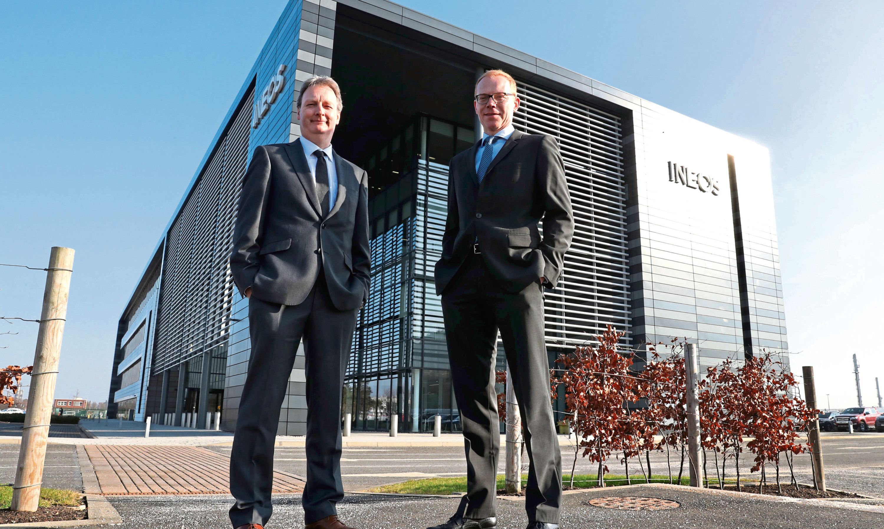 Andrew Gardner, chief executive of Ineos Forties Pipeline System (FPS) and Tobias Hannemann (right), chief executive of Ineos O&P UK at Ineos Grangemouth headquarters.