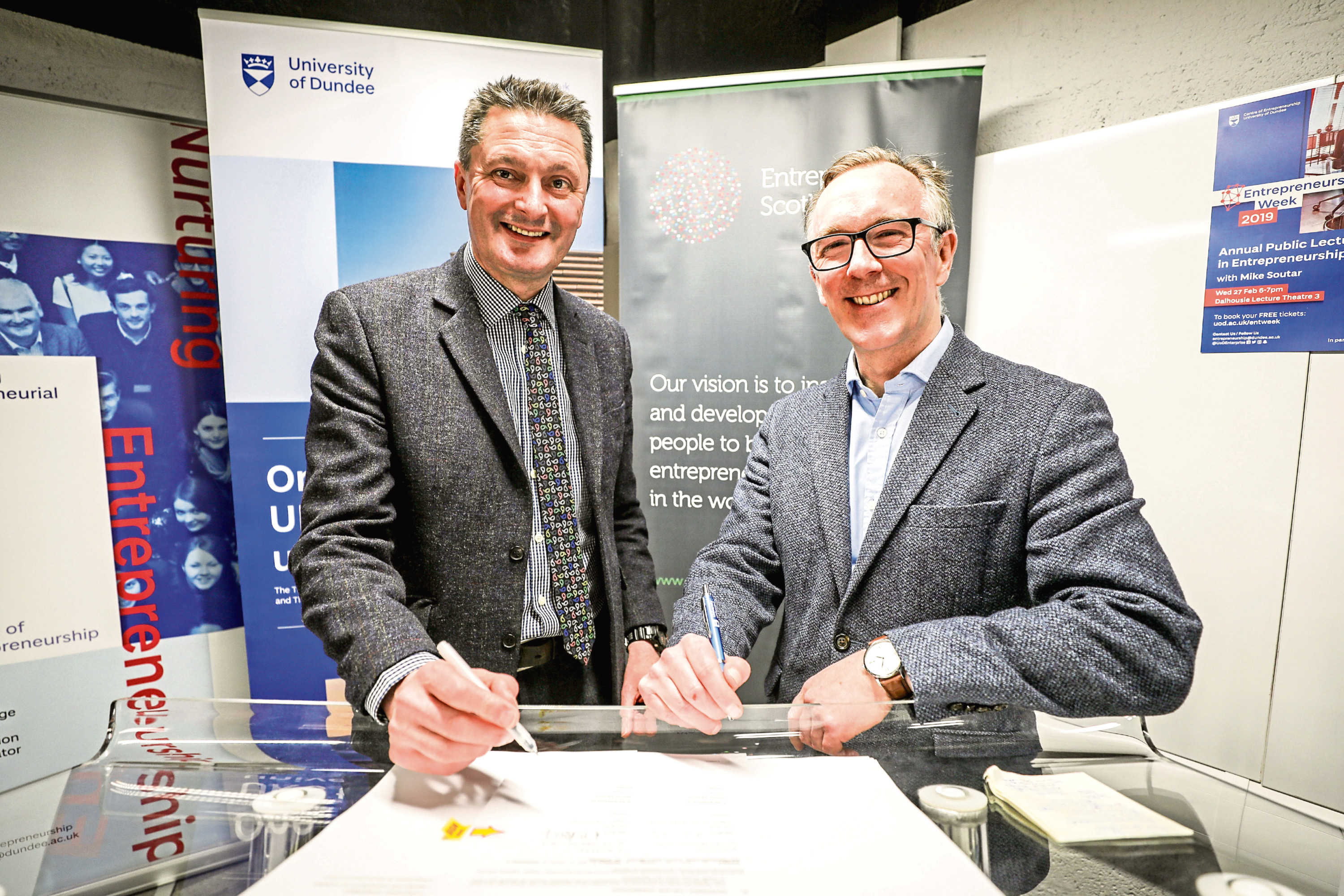 University of Dundee principal Andrew Atherton with Sandy Kennedy, chief executive of Entrepreneurial Scotland in February.