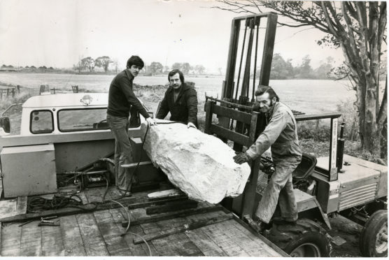 This huge stone block, unearthed in a disused sandstone quarry near Coupar Angus was delivered to life prisoner Jimmy Boyle at Barlinnie Prison