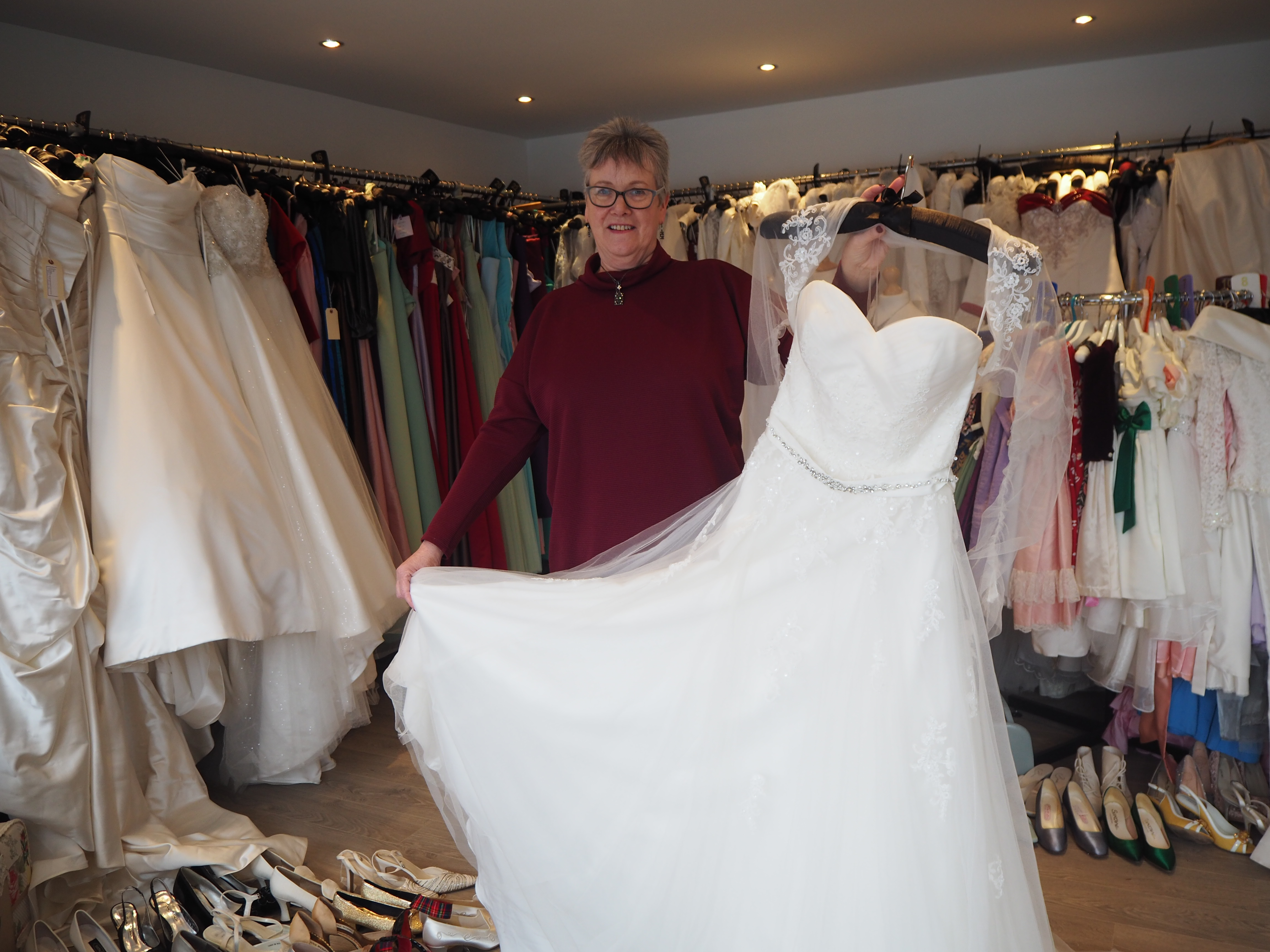 Angela with one of her wedding dresses