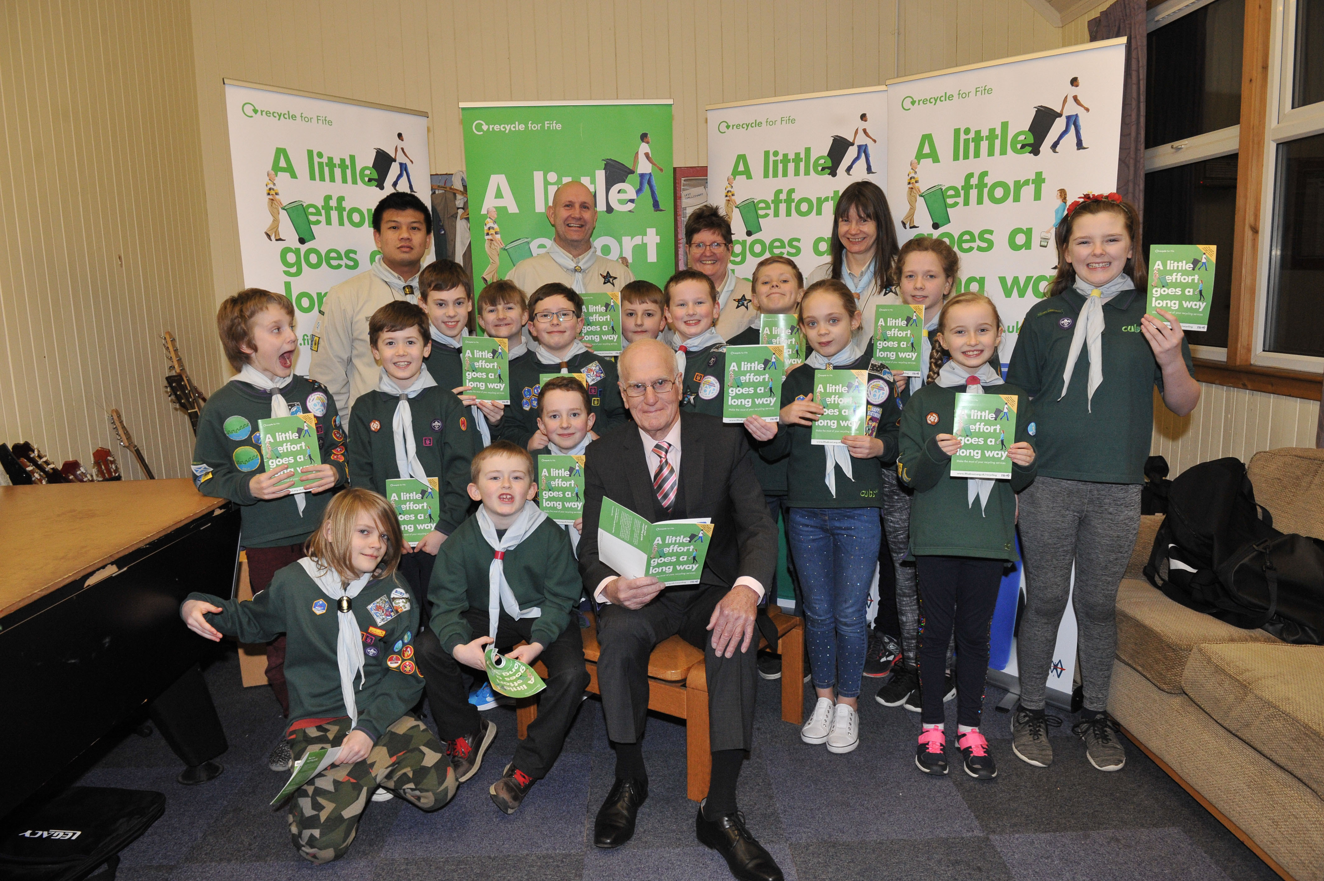 The 5th Fife Scout Group, with Councillor Ross Vettraino at the Scout Hut.