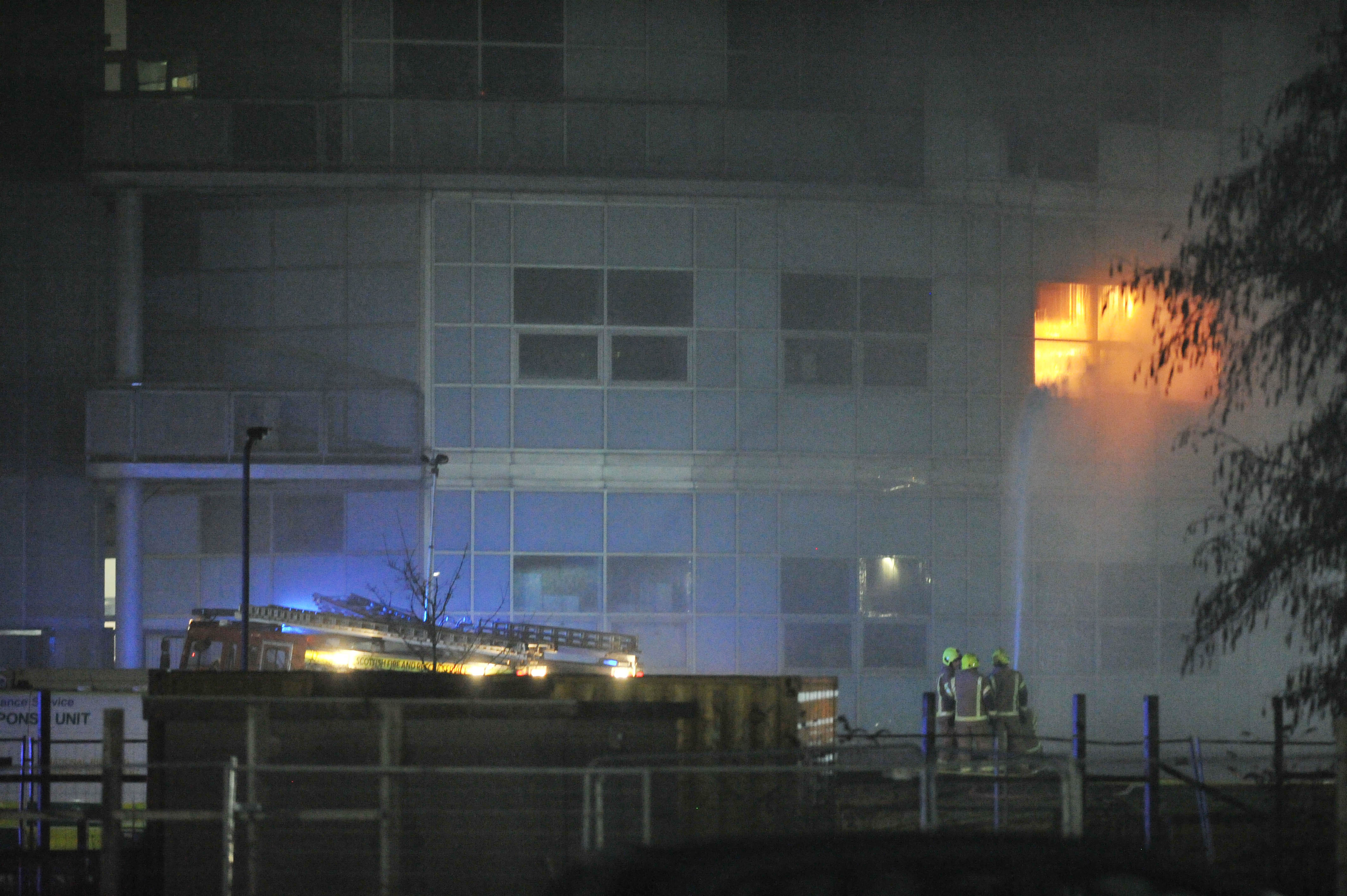 Flames rip through the St Andrews University science research building.