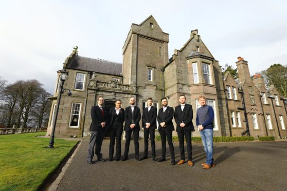 Picture shows; L/R, Butler teacher Simeon Rosset with trainee butlers, Heather Smith, Joe Szula, Ryan Hayes, Steven Whyte, Jude Swan and Alastair Warwick-Nelson - Chief Executive European Etiquette Academy, at Turin Castle near Forfar