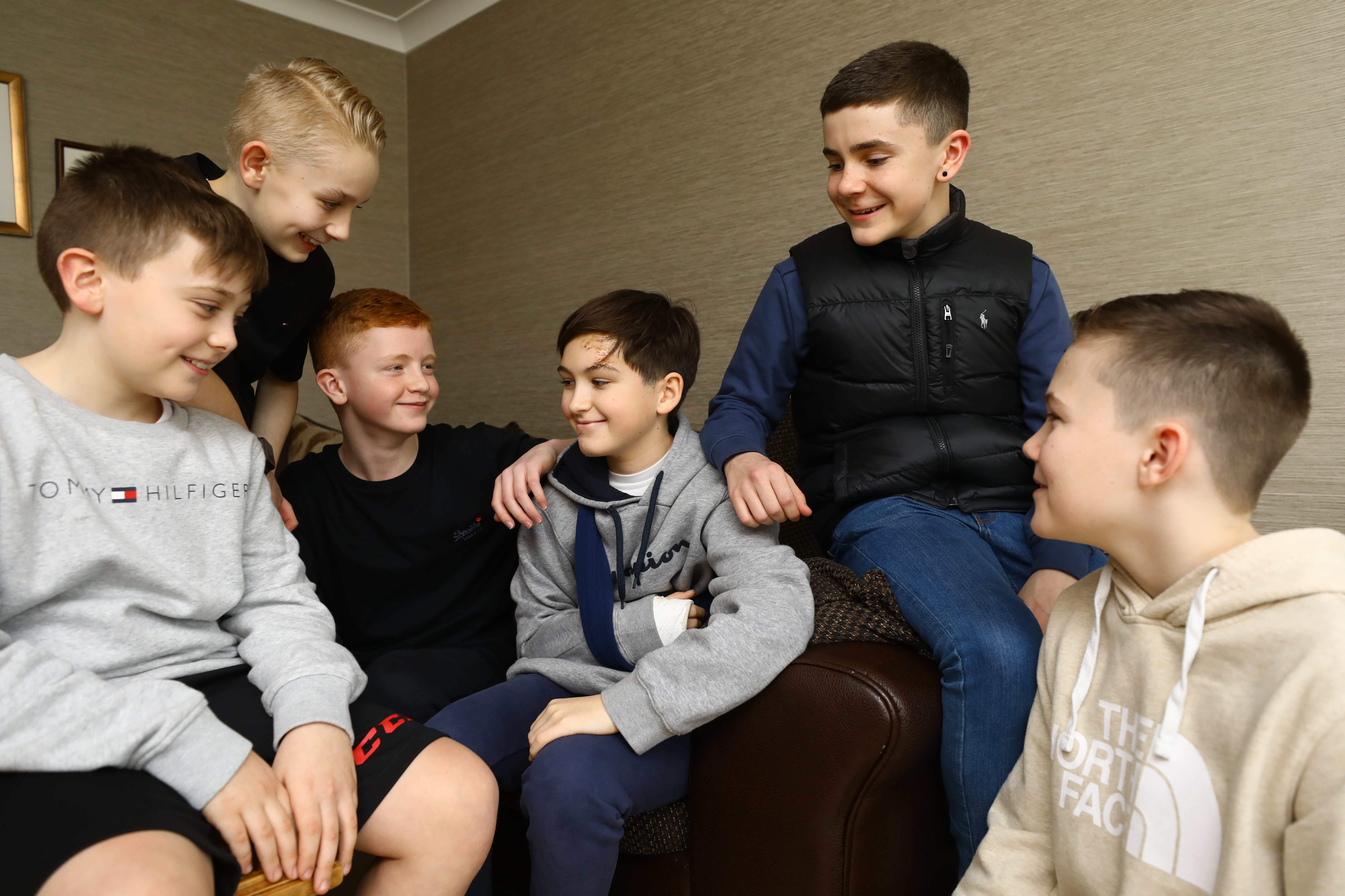 From left: Ross Mollison, Ross Hay, Sean Farnan and Josh Aberdeen, at Caderyn's home in Dundee today.