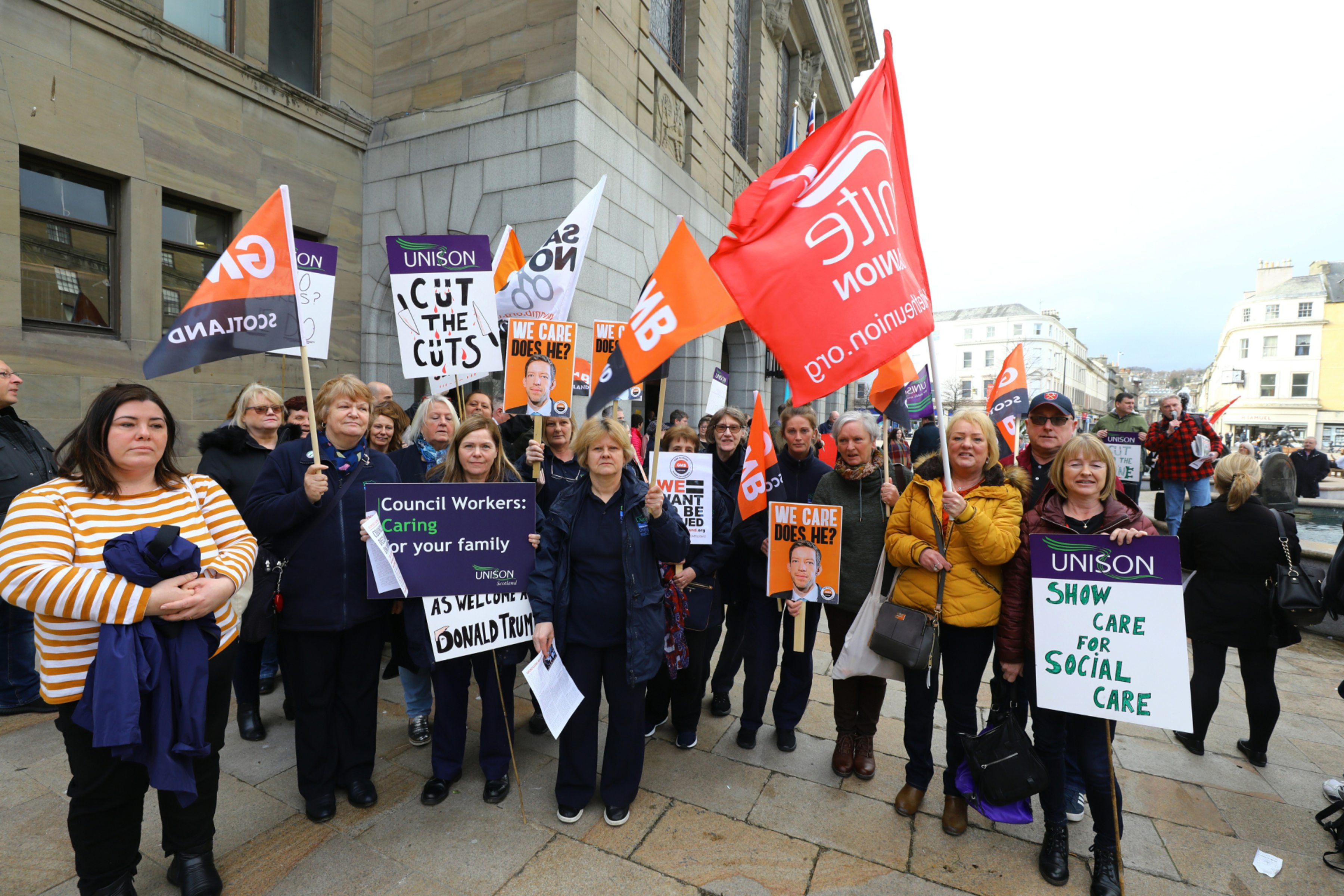 Union members demonstrating at City Square earlier in the year.