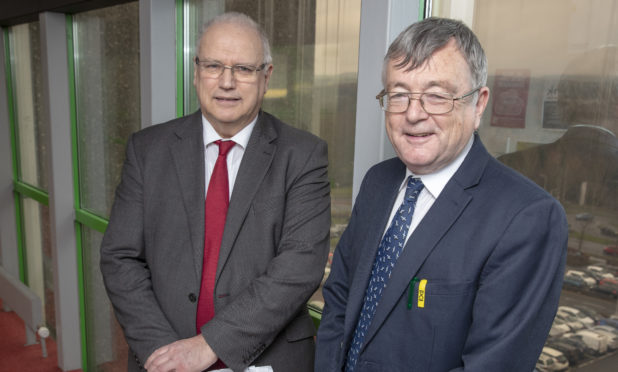 Joint council leaders David Ross (L) and David Alexander