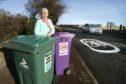 Mrs Mauran next to her 'slow down' wheelie bin signs