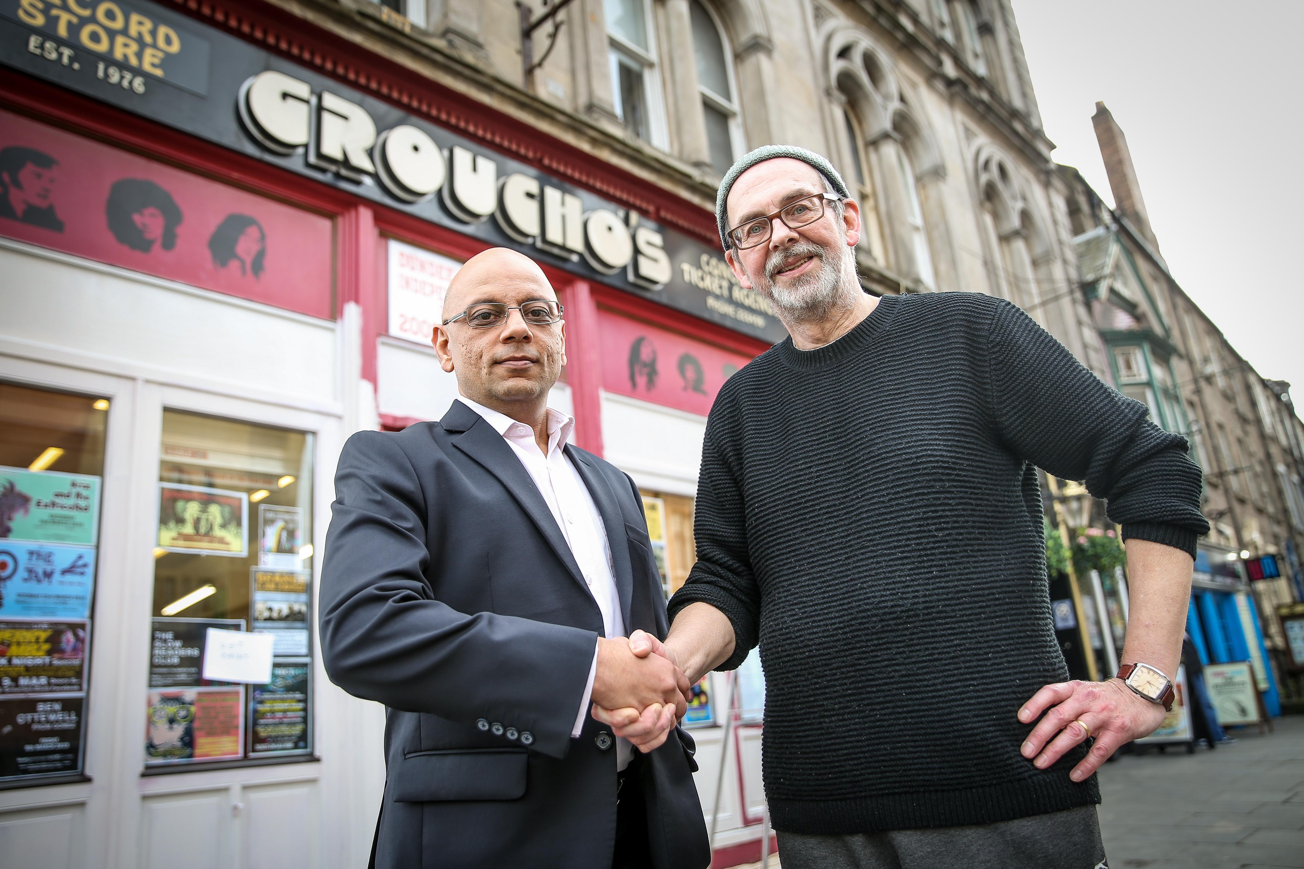 Shop owner Alastair 'Breeks' Brodie and landlord Shaheed Jamal.