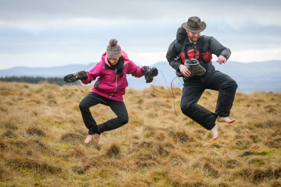 Gayle Ritchie and outdoors guide Malcolm Handoll go barefoot along the Cateran Trail.