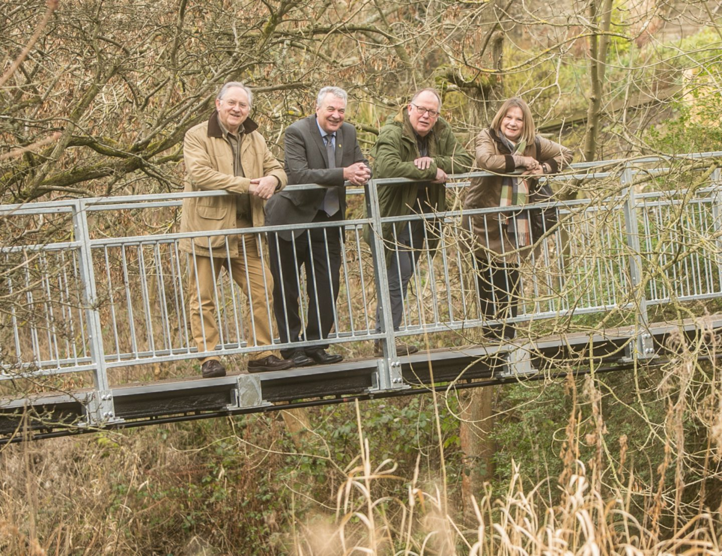 Ken Caldwell, second from left, at the River Leven.