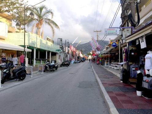 The main strip in Malia, Crete.