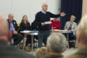 Mark Guild addressing members of the public at Forfar Community Council.