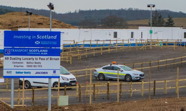 The accident occurred at contractor Balfour Beatty's compound off the A9, north of Perth.