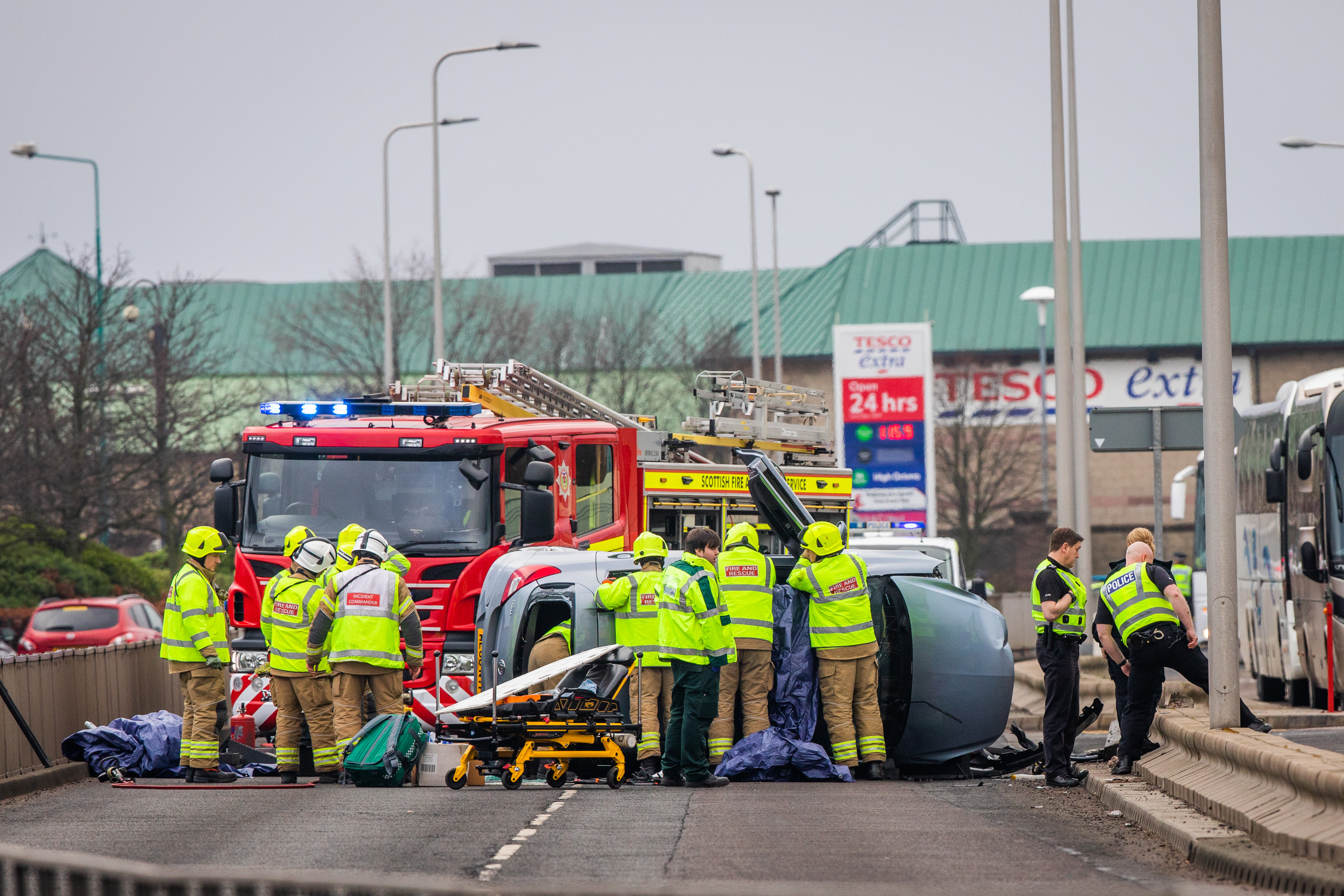 The car was left badly damaged in the crash