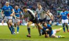Blair Kinghorn scores against Italy last year. Scotland have beaten the Italians seven times in a row.