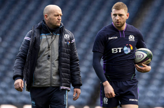 Scotland head coach Gregor Townsend and Finn Russell (right).